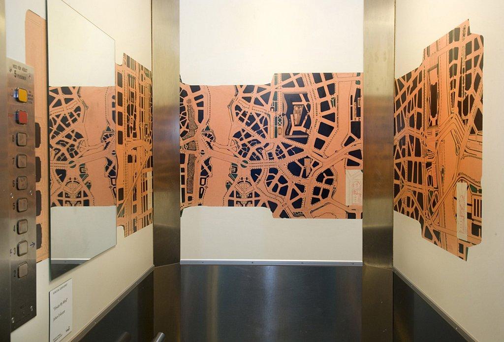 Konstnärlig gestaltning av hiss, Hammarby Fabriksväg 43, uppdrag av Fabege/Hammarby Artport  2008